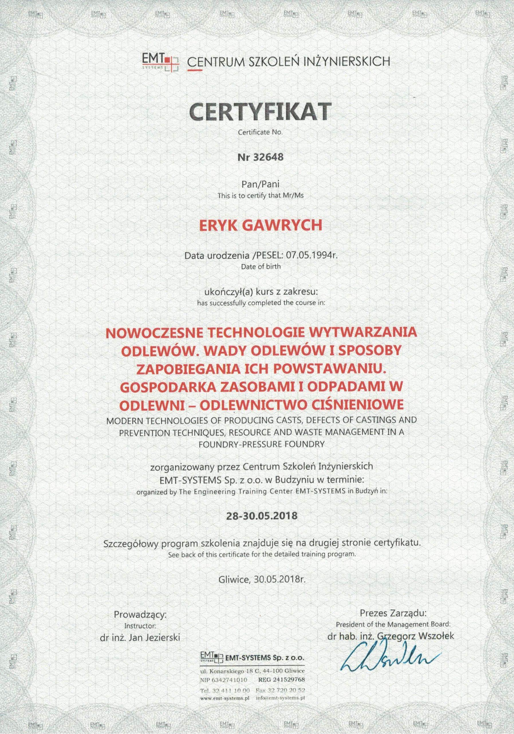 Certyfikat - nowoczesne metody wytwarzania odlewów - Eryk Gawrych