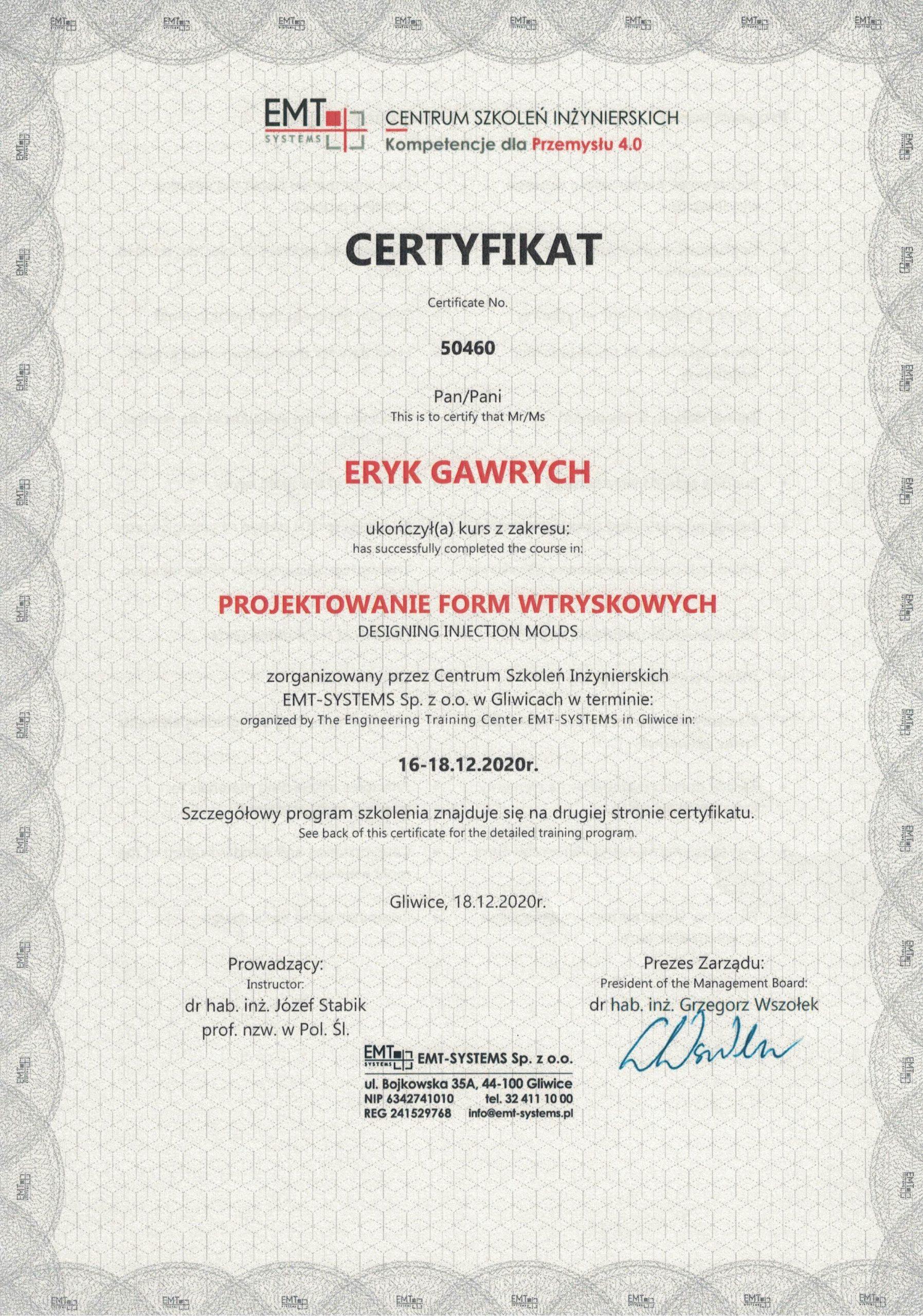 Certyfikat - projektowanie form wtryskowych Eryk Gawrych